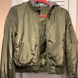 Army green bomber jacket with hood